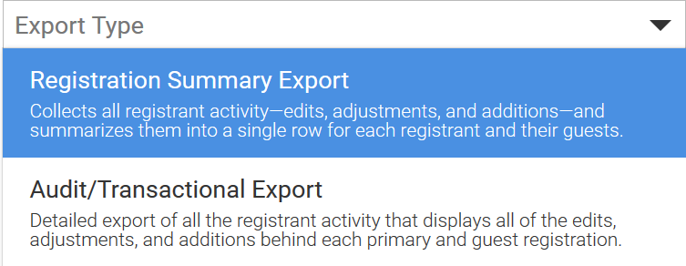 Registration Summary Export – iModules Support Center